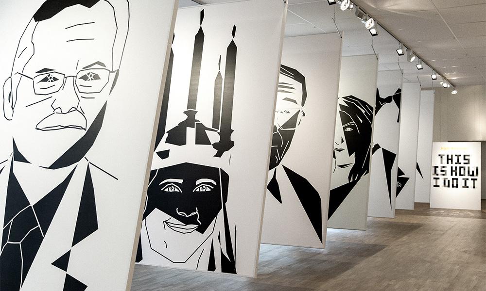 Stora svartvita grafiska affischer på svenska personligheter och traditioner.